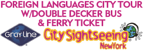 Foreign Languages City Tour w/Double Decker Bus & Ferry Ticket