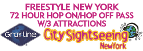 Freestyle New York: 72 Hour Hop On/Hop Off Pass with Three Attractions