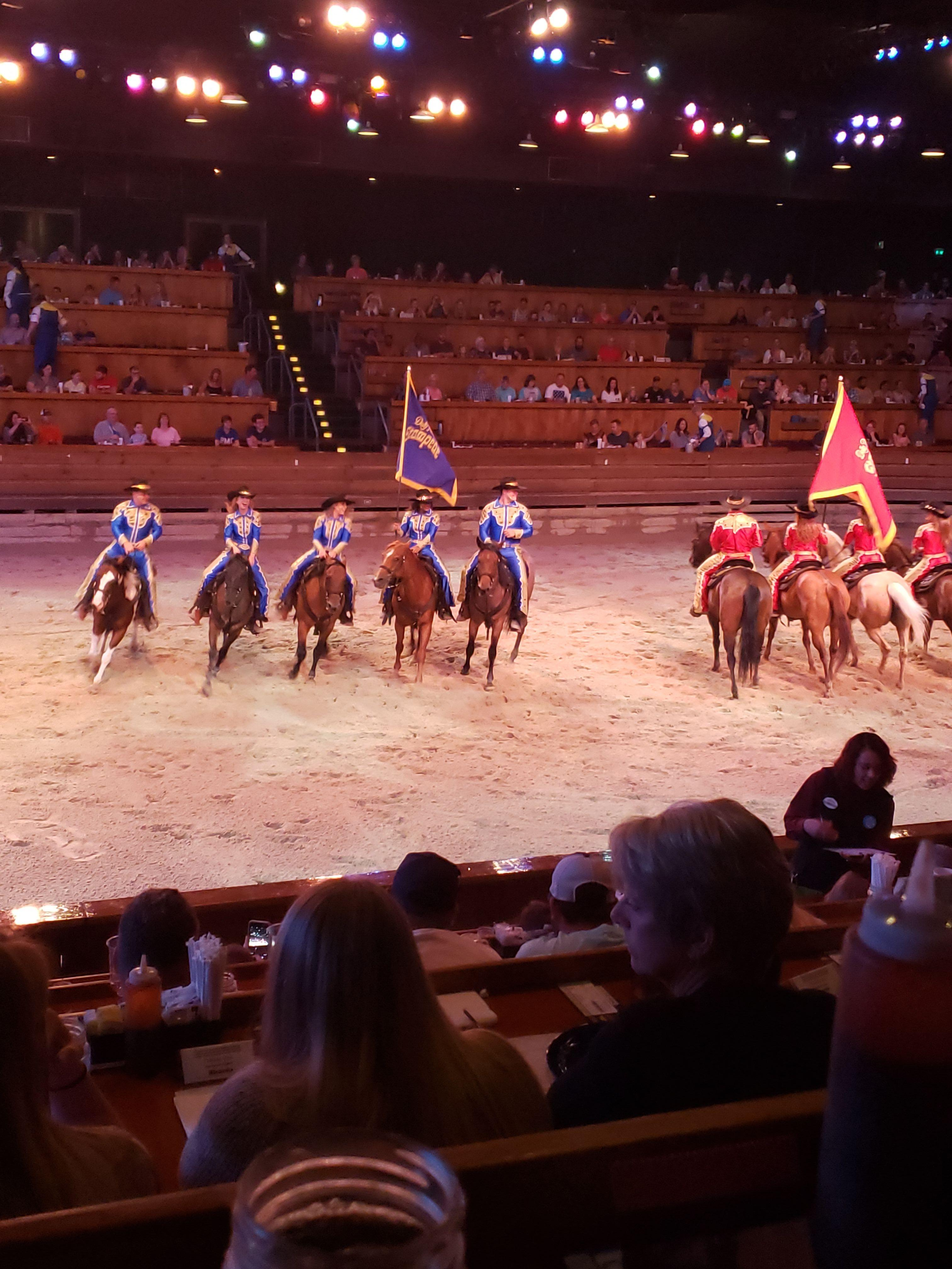 Riding Horses at Dolly Parton's Stampede Dinner Show Pigeon Forge