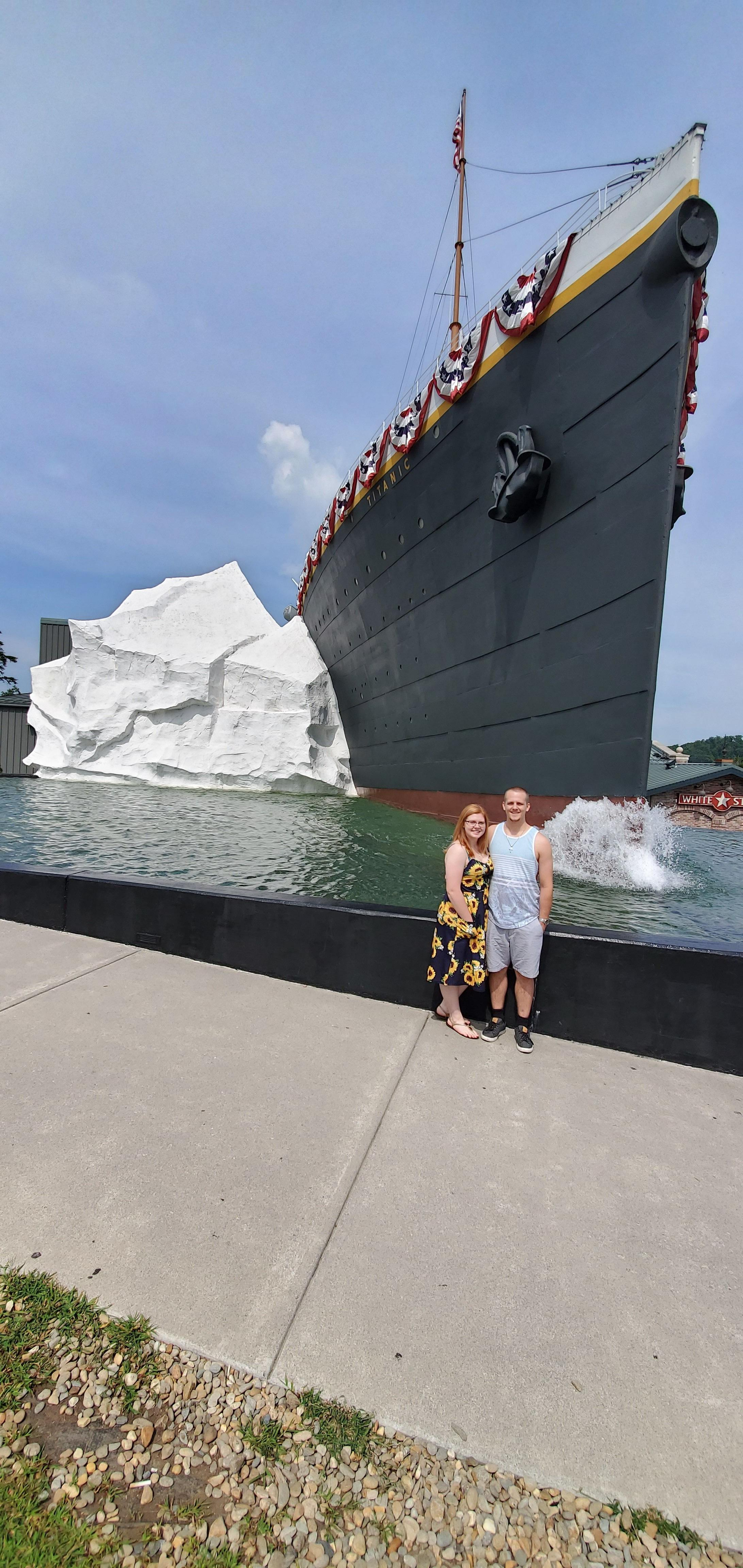 Couple Outside the Titanic World's Largest Museum Attraction Gatlinburg