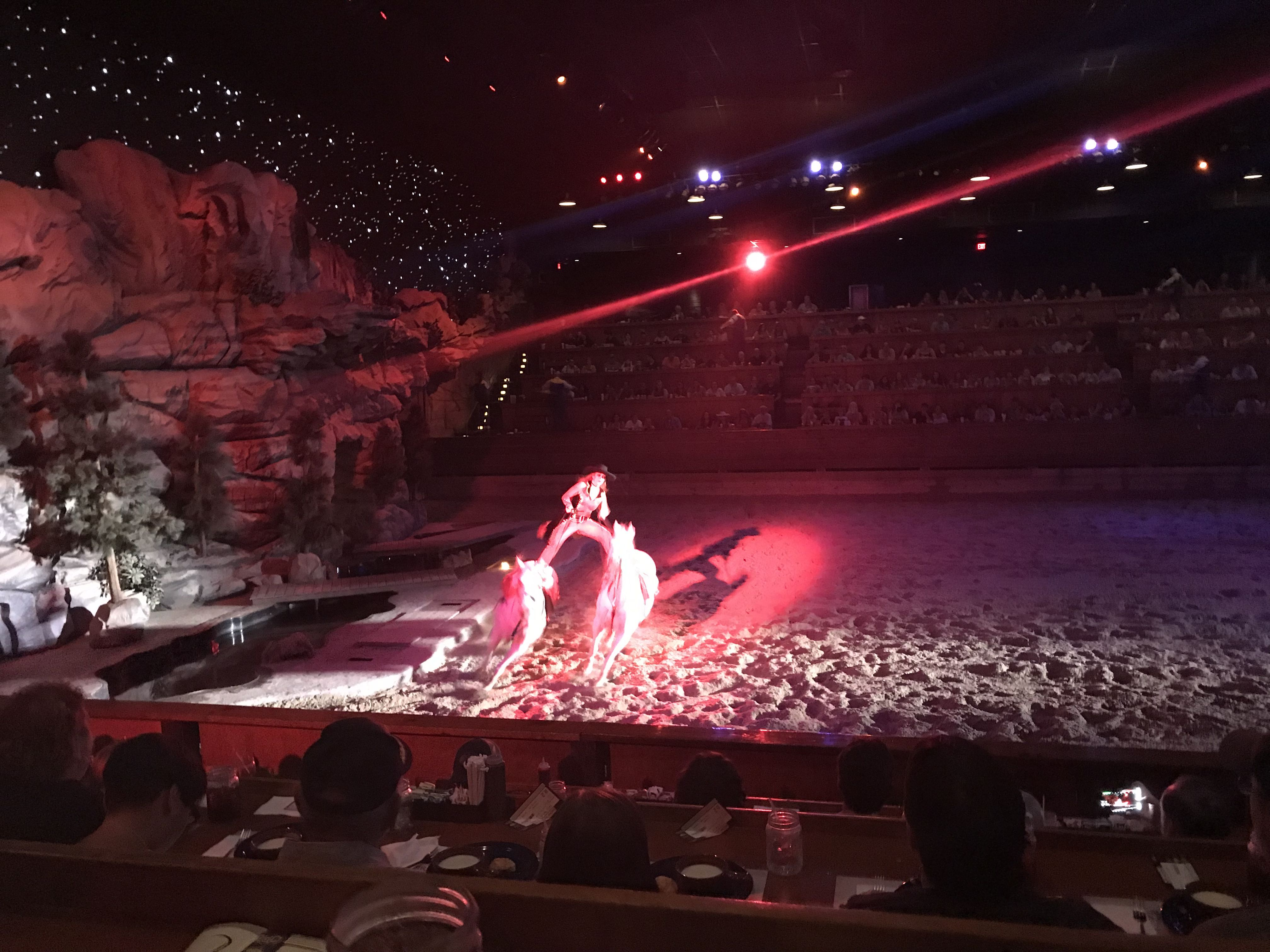 Woman Standing on Two Horses at Dolly Parton's Stampede Dinner Show Pigeon Forge