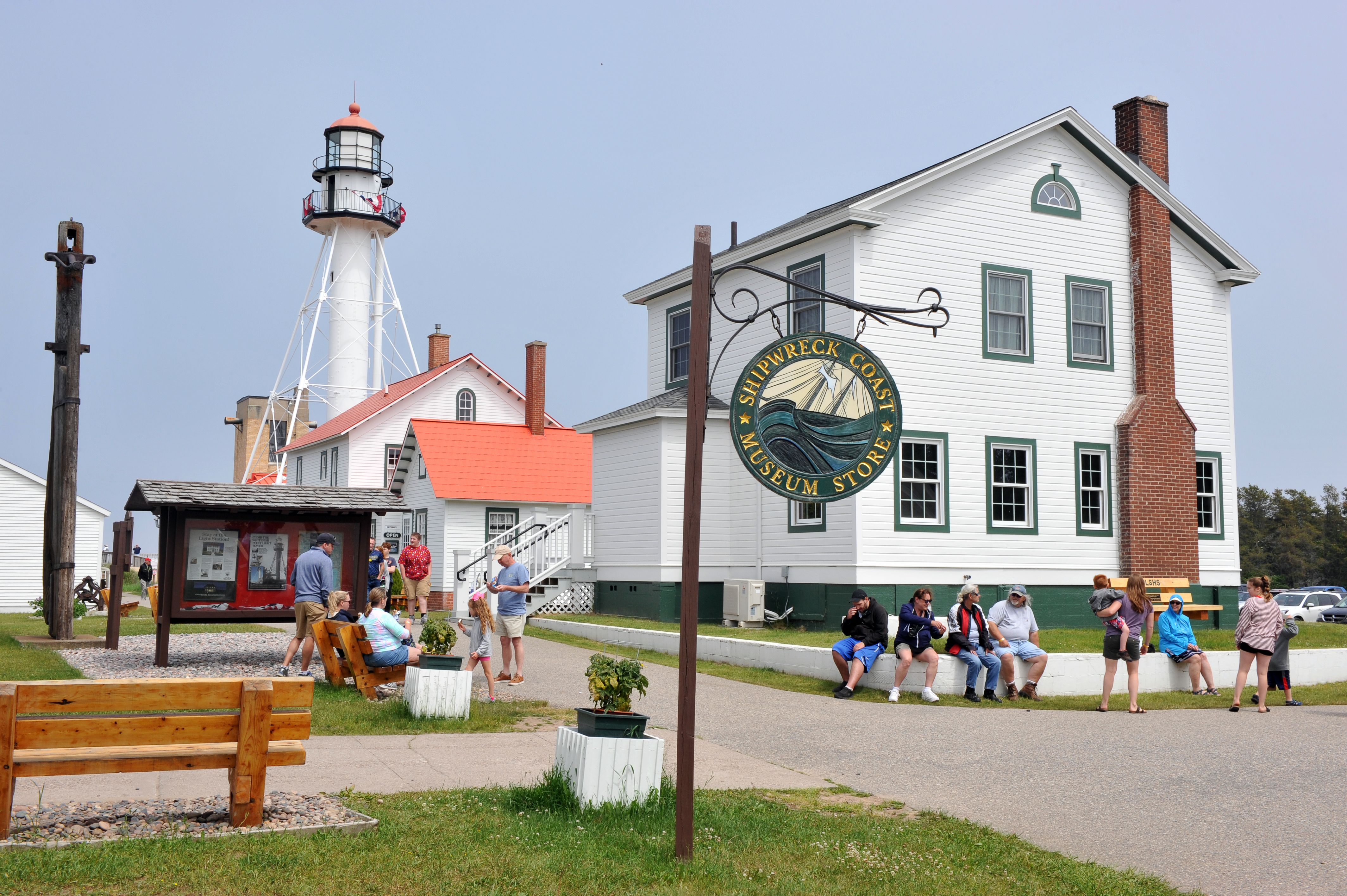 Outside of the Great Lakes Shipwreck Museum and Whitefish Point Light Station