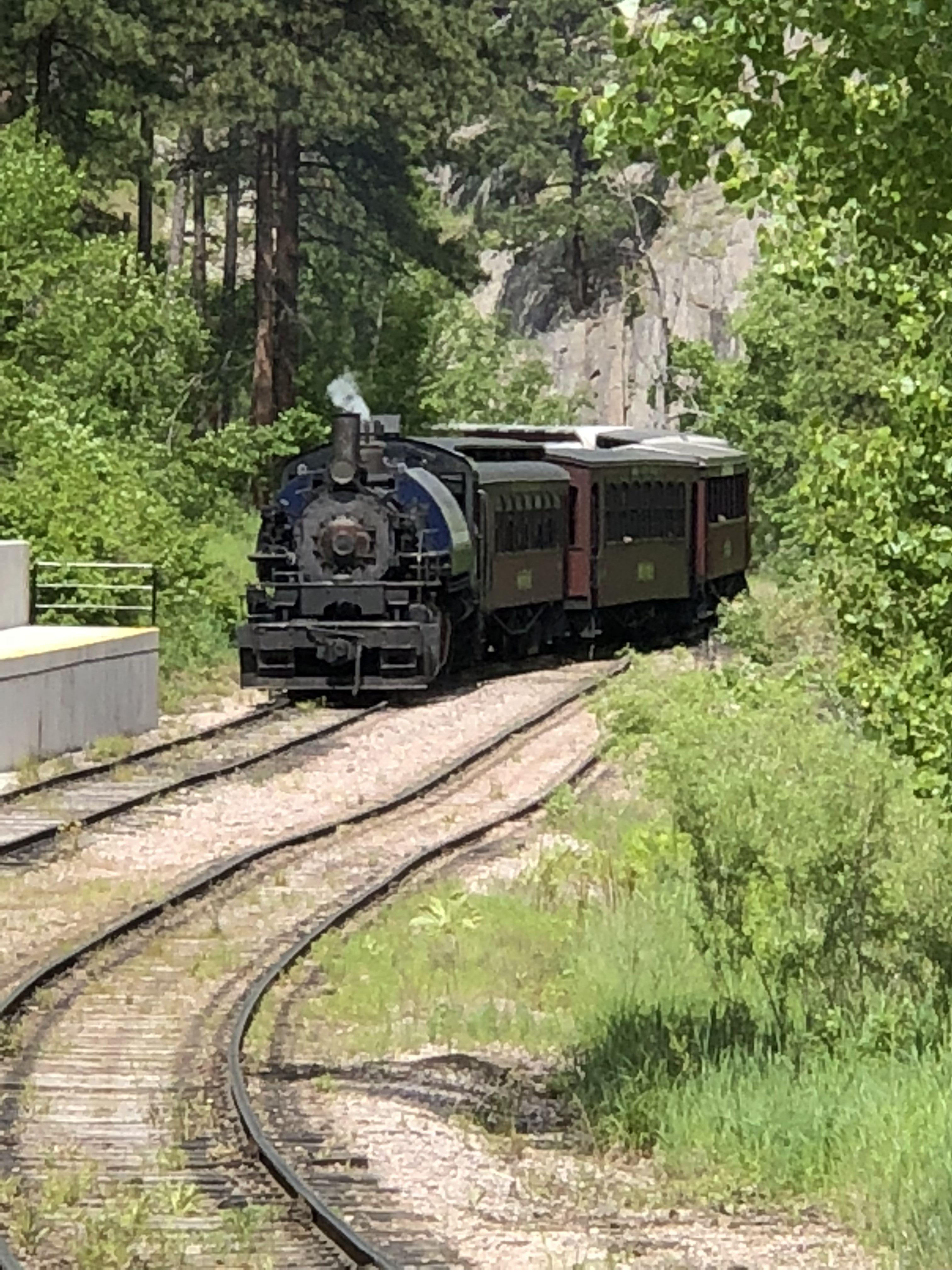 Train Coming into the Station with 1880 Train: A 19th Century Train Ride Tour
