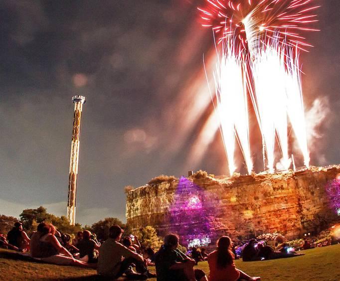 Patriotic Fireworks Spectacular At Six Flags Fiesta In San