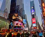 Bustling Times Square in NYC