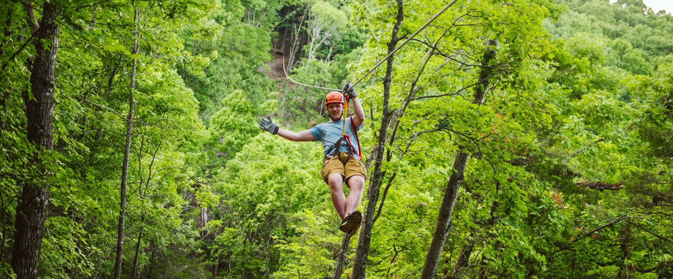 Zipling through the Trees at Shepherd of the Hills