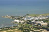 Aerial view of the lakefront