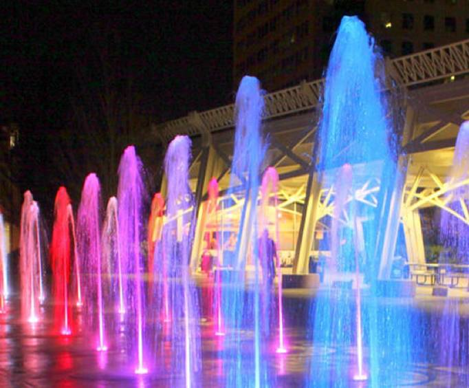 Colorful Fountains during the Nashville Night Trolley Tour