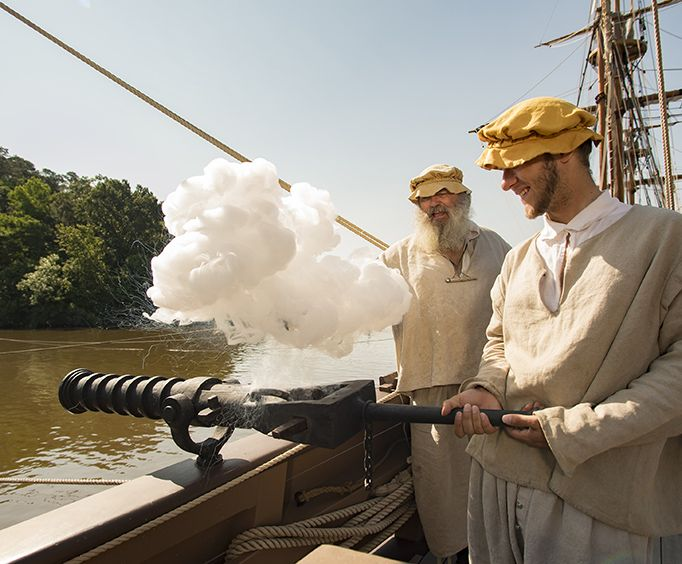 Firing Canons at Jamestown Settlement