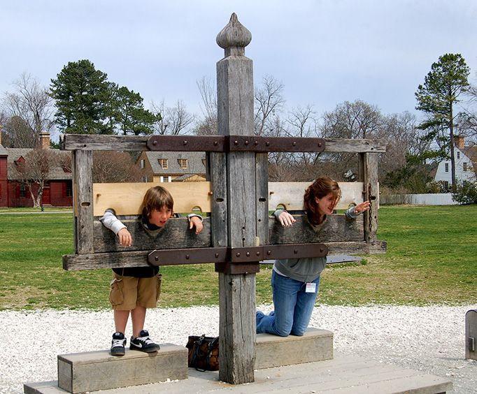 Kids in the Stocks at the Williamsburg Cemetery Tour