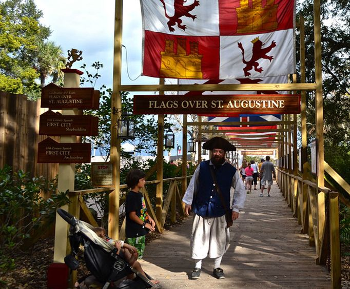 Flags over St Augustine at the Colonial Quarter Museum