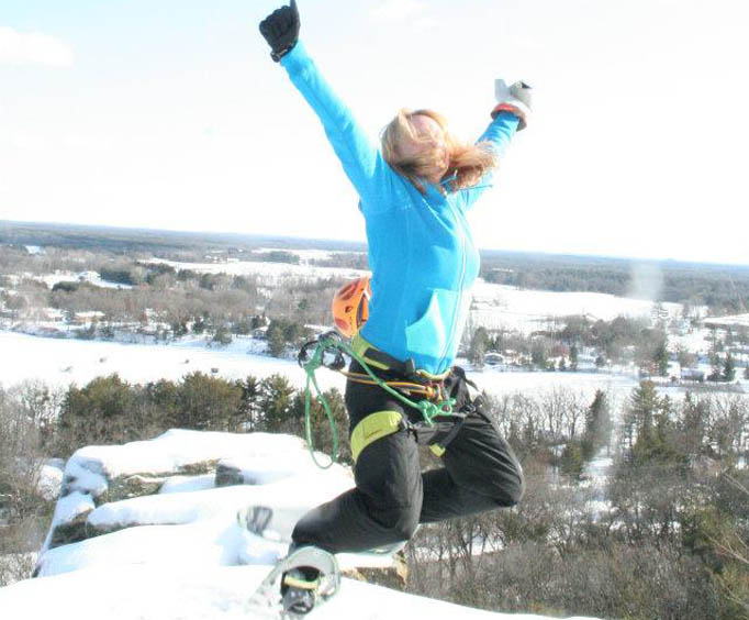 Leap for Joy at the Ice Climbing Tour
