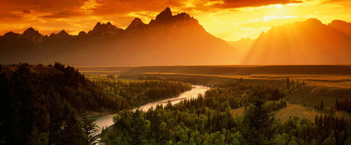 Grand Teton National Park Sunrise Wildlife Expedition: Mountains in Sunrise