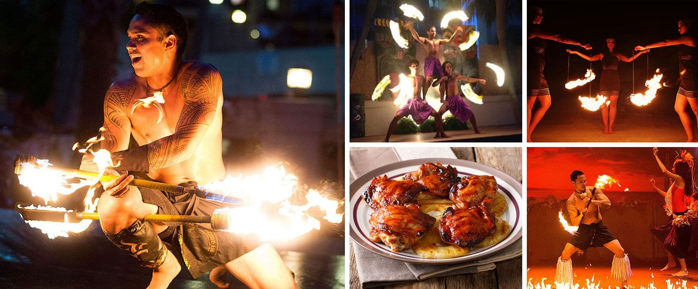 Polynesian Luau and Fire Dinner Show at Hawaiian Inn Collage