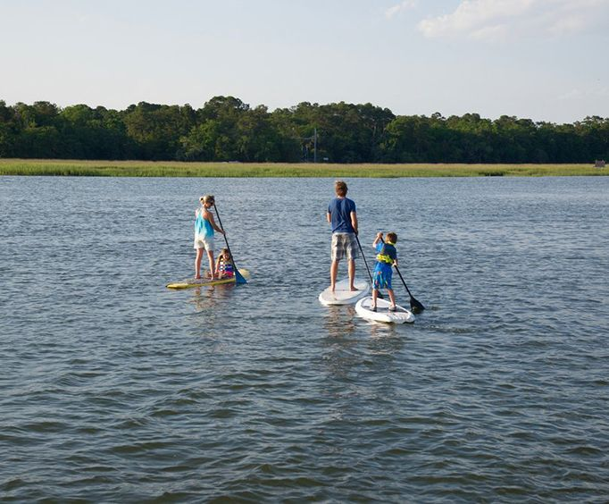 Family on the Hilton Head Island Stand Up Paddleboarding Tour