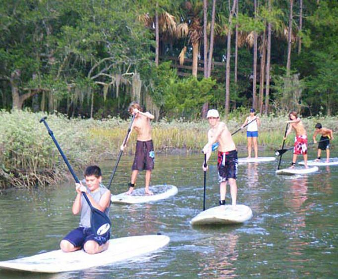 Large Group on the Hilton Head Island Stand Up Paddleboarding Tour