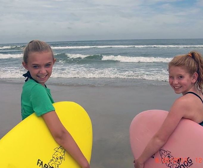 Young Girls on the Small group Surf Lesson on the Outer Banks
