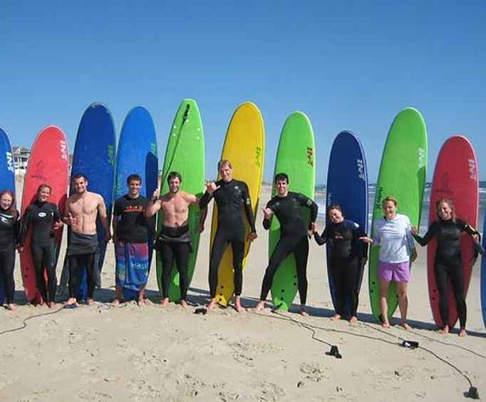Group with Small Group Surf Lesson on the Outer Banks