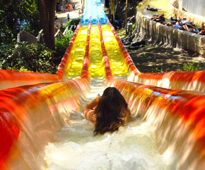 Coming Down a Slide at Schlitterbahn Waterpark San Antonio