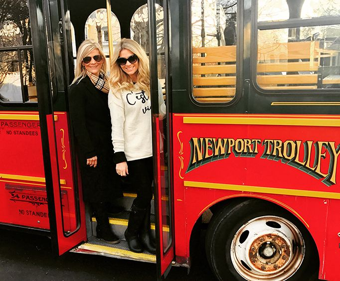 Women on the Grand Mansion of Newport Viking Trolley Tour