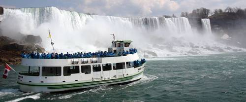 The cruise ship up close with the falls