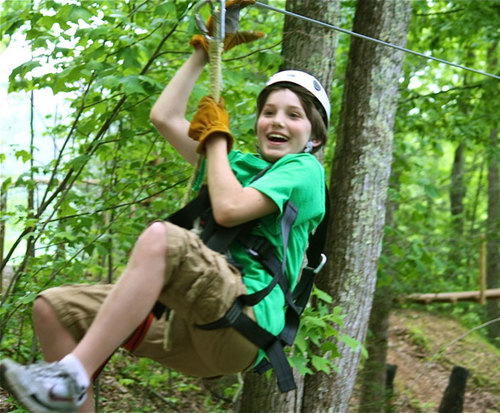 The zipline is an exciting way to get out of the house and get some fresh air