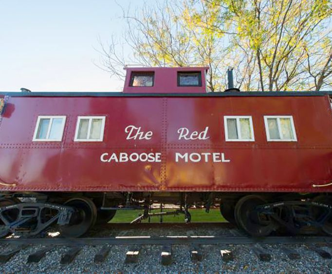 Exterior of Red Caboose Motel