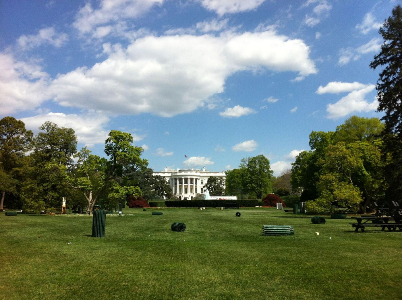 April 10 2012, blue sky and fluffy white clouds over DC