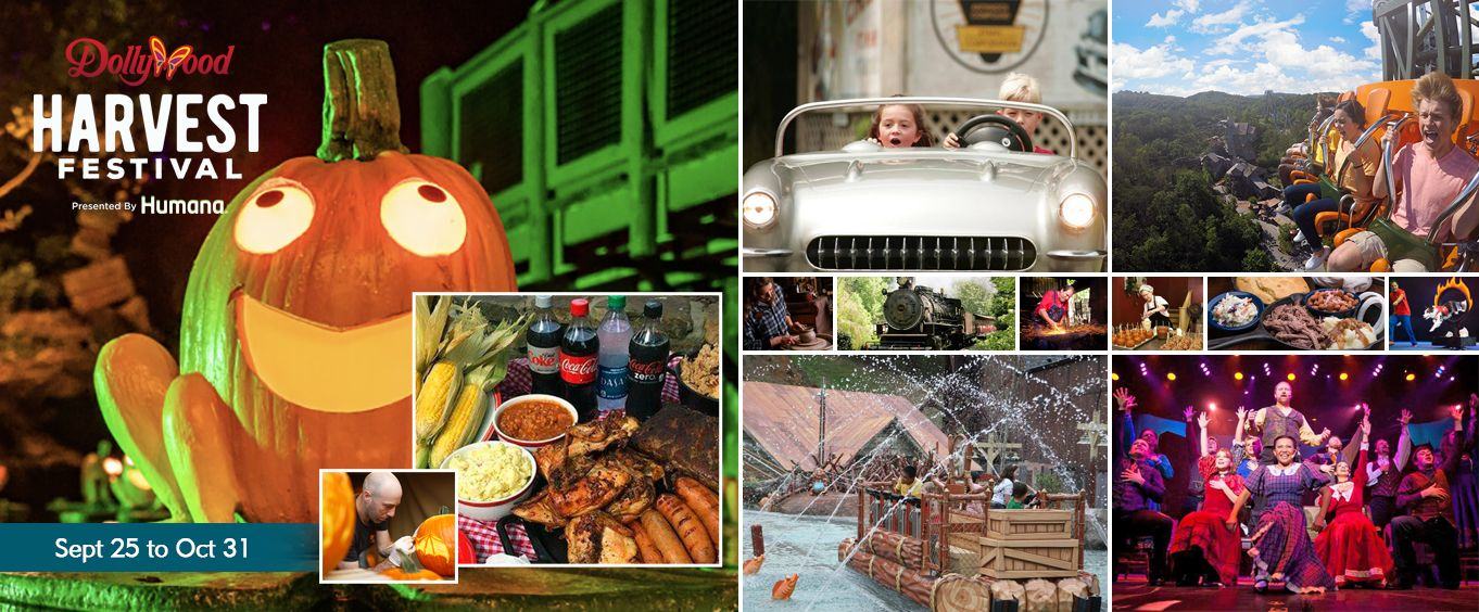 Harvest Festival at Dollywood Theme Park Tennessee Collage