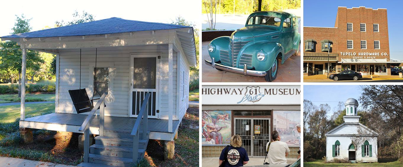 The Tupelo Mississippi Birthplace of Elvis Presley Day Trip Collage